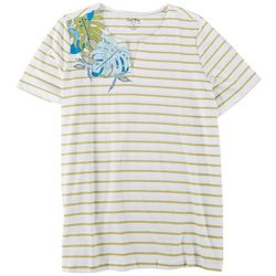 Coral Bay Plus Notch Striped Short Sleeve Top