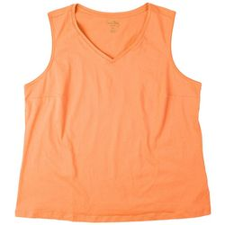 Coral Bay Plus Classic Cotton V-Neck Sleeveless Top