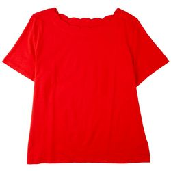 Coral Bay Plus Scalloped Rounded Neck Short Sleeve Top
