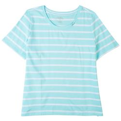 Coral Bay Plus Striped Single Ring Neck Top