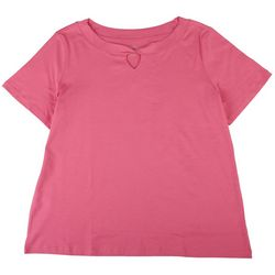 Coral Bay Plus Short Sleeve Solid Twisted Neck Top