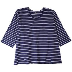 Plus Striped Dotted Neckline Top 3/4 Sleeve