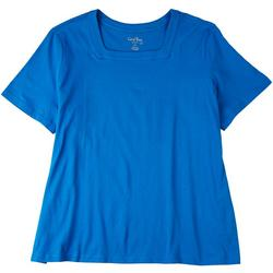 Plus Square Neck Solid Short Sleeve