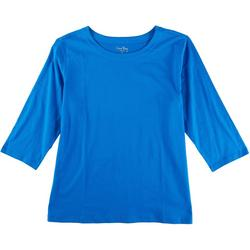 Plus Solid 3/4 Sleeve Boat Neck Top
