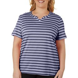 Coral Bay Plus Striped Short Sleeve Top