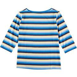 Coral Bay Plus Multi Stripes 3/4 Sleeve Tee
