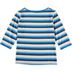 Plus Multi Stripes 3/4 Sleeve Tee
