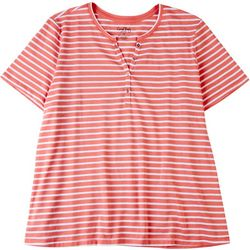 Coral Bay Plus Glitter Striped Short Sleeve Top