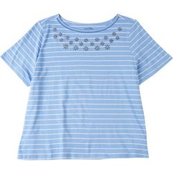 Coral Bay Plus Striped Short Sleeve With Anchors