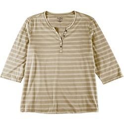 Coral Bay Womens Plus Striped Henley Top