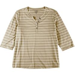 Womens Plus Striped Henley Top