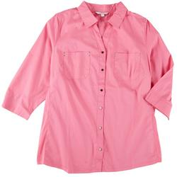 Plus Knit To Fit Button Down Top