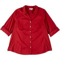 Plus Solid Button Down Shirt