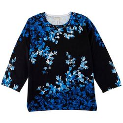 Alfred Dunner Plus Floral Print 3/4 Sweater