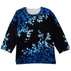 Plus Floral Print 3/4 Sweater