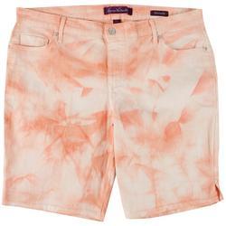 Plus Tie-Dye Denim Bermuda Shorts