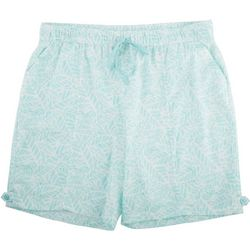 Coral Bay Plus Palm Tree Leaves Linen Shorts