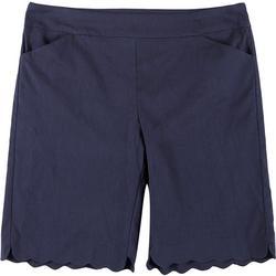 Womens Plus Solid Scalloped Hem Shorts