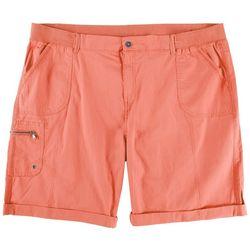 Fresh Plus Solid Pull On Hem Shorts