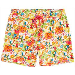 Plus Floral Printed Pull On Shorts