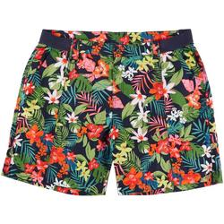 Plus Multi Color Tropical Hawaiian Shorts
