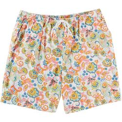 Plus Colorful Print Drawstring Shorts
