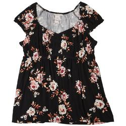 Plus Baby Doll Floral Short Sleeve Top