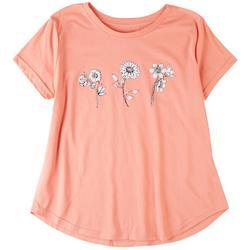 Plus 3 Flowers Short Sleeve T-Shirt