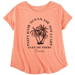 Plus Quote And Screen Print Short Sleeve Top