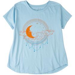 Plus Sleeping Moon Round Neck T-Shirt