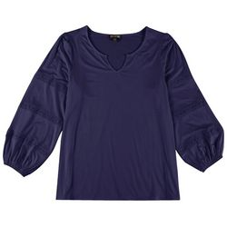 Tint & Shadow Womens Split Neck Lace Inset Top