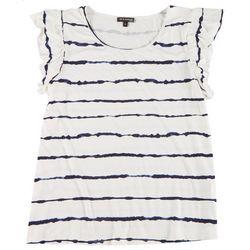 Tint & Shadow Plus Striped Ruffle Cap Sleeve Top