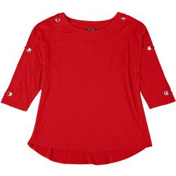 Tint & Shadow Womens Plus Embellished 3/4 Sleeve Top