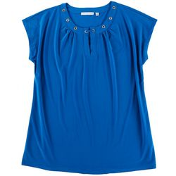 Notations Plus Solid Emellished Neck Detail Sleeveless Top