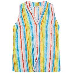 Lynn Ryan Plus Vibrant Stripes Sleeveless Top