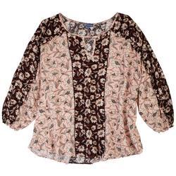 Plus Floral Colorblock 3/4 Sleeve Top