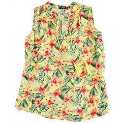 Cure Apparel Plus Tropical Printed Tie Top