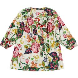 Plus Floral Long Sleeve Knit Tunic