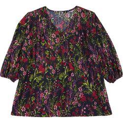 Cure Apparel Plus Wildflower Long Sleeve Knit Tunic
