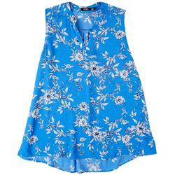 Cure Apparel Plus Split Neck Floral Sleeveless Top