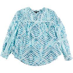 Zac & Rachel Plus Crochet Tie-Dye Long Sleeve Top