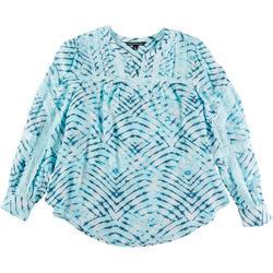 Plus Crochet Tie-Dye Long Sleeve Top