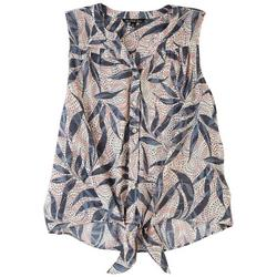 Zac & Rachel Plus Button Down Knotted Printed Top