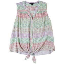 Zac & Rachel Plus Stripes & Diamonds Sleeveless Top