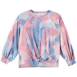 Plus Tie Dye Knotted Cropped Sweater