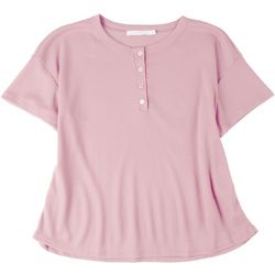 Lush Plus Solid Scoop Neck Shirt With Buttons
