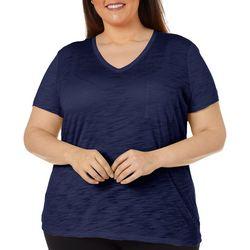 Dept 222 Plus Solid Chest Pocket V-Neck T-Shirt
