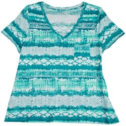 Plus Luxey Printed V-Neck Shirt