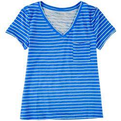 Dept 222 Plus Striped V-Neck T-Shirt