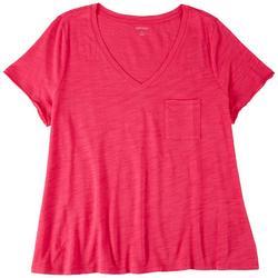 Plus Chest Pocket V-Neck T-Shirt